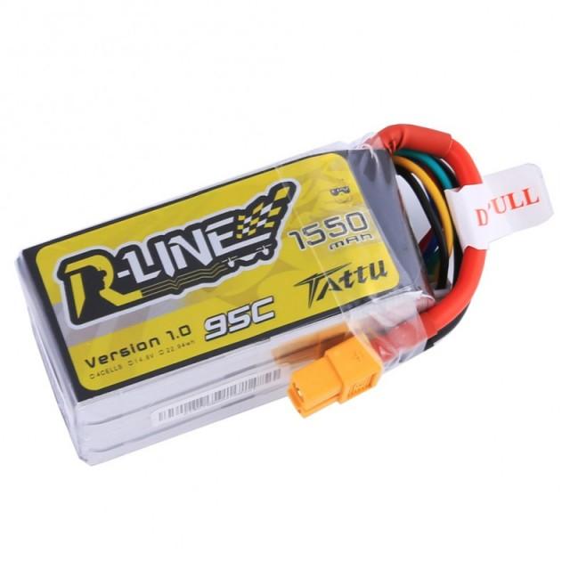 TATTU製 14.8V 1550mAh 95C 4S 高性能 バッテリー  ワルケラ F210 F2103D Furious215 DTS Q180 Q220 など対応  (ta-95c-1550-4s1p-xt60)|ラジコンヘリ関連商品 ドローン