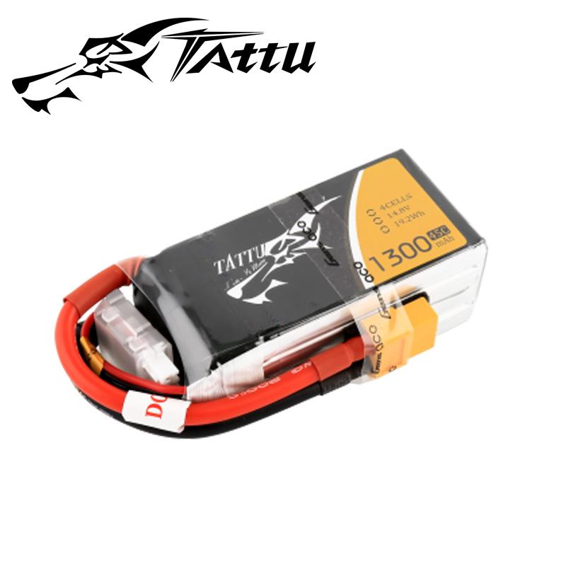 TATTU製 14.8V 1300mAh 45C 4S 高性能 バッテリー  ワルケラ F210 F2103D Furious215 DTS Q180 Q220 対応  (ta-45c-1300-4s1p-xt60)|ラジコンヘリ関連商品 ドローン