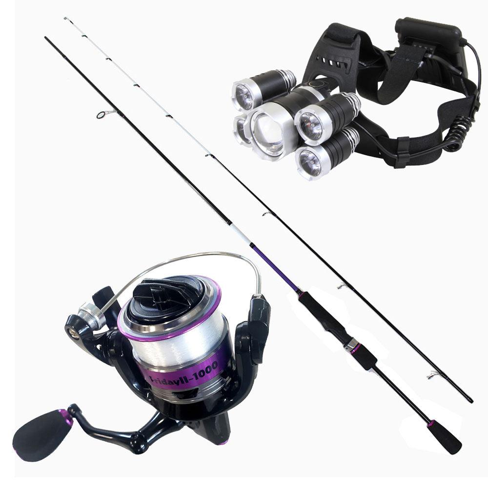 夜釣りに最適 ヘッドライト付き アジング・メバリング入門 ロッド(73ML) & ライン付リール セット (fridayset18)