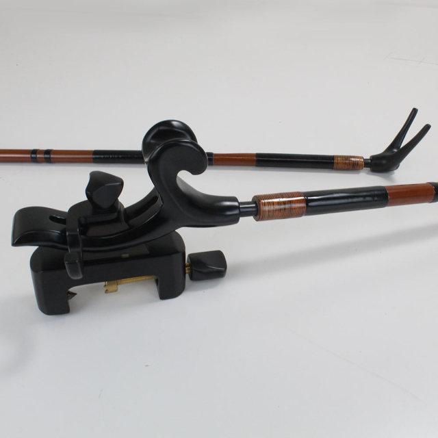 段巻,竹製竿掛け 1本半 + 黒檀弓型万力セット [40064]