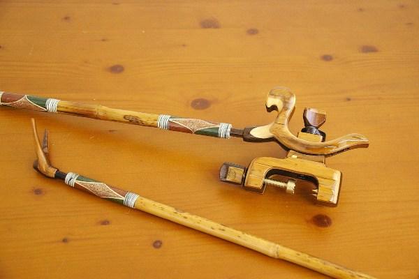 ☆ポイント5倍☆竹製竿掛け, 短竿1本半 + 竹張弓万力セット [40065]