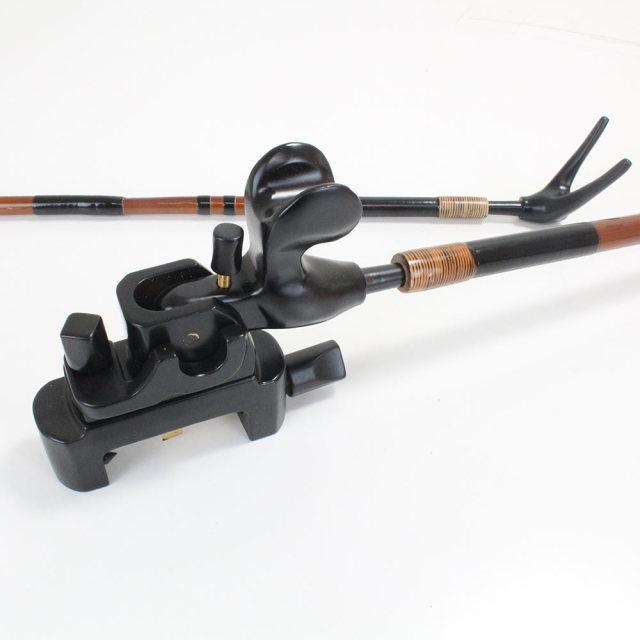 段巻,竹製竿掛け 1本半 + 黒檀大砲万力セット [40075]