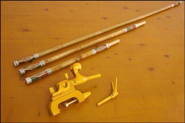 ☆ポイント5倍☆竹製竿掛け 2本物 + 銘木大砲万力セット [40076]