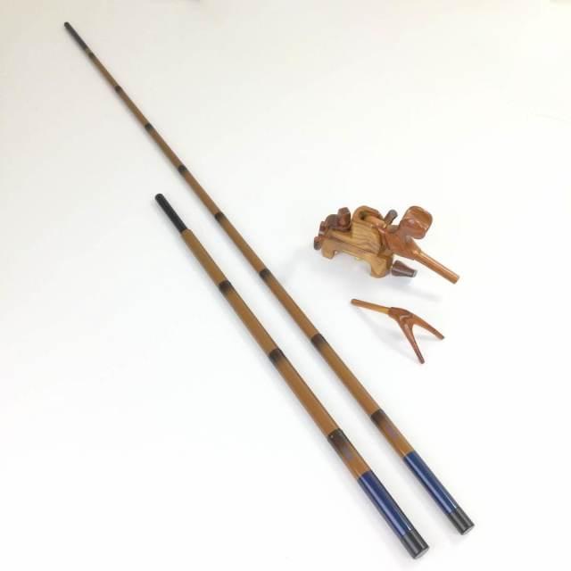 18'芳技(よしわざ) 竿掛け 1本半物 口巻+大砲万力 カリン (小型)セット (40104-20022set) 140サイズ