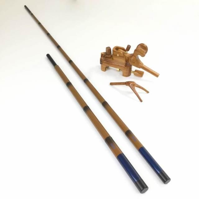 18'芳技(よしわざ) 竿掛け 1本半物 口巻+大砲万力 カリン (中型)セット (40104-20023set) 140サイズ