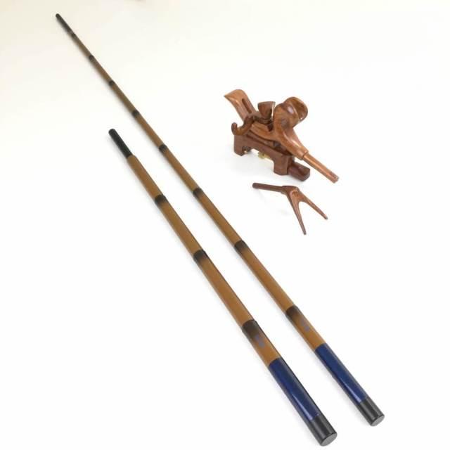 18'芳技(よしわざ) 竿掛け 1本半物 口巻+ 弓万力 カリン(中型)セット (40104-20024set) 140サイズ