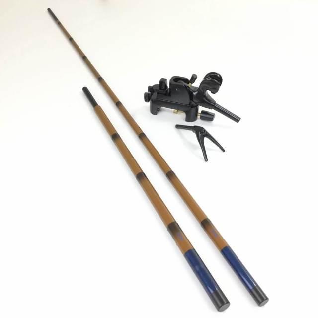 18'芳技(よしわざ) 竿掛け 1本半物 口巻+大砲万力 コクタン (小型)セット (40104-20026set) 140サイズ