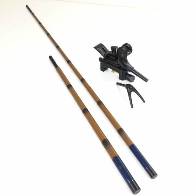 18'芳技(よしわざ) 竿掛け 1本半物 口巻+弓万力 コクタン(中型)セット (40104-20029set)140サイズ