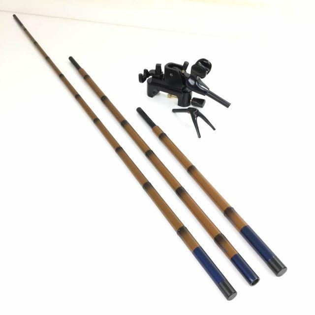 18'芳技(よしわざ) 竿掛け 2本物 口巻+ 大砲万力 コクタン(中型)(40105-20027set) 140サイズ