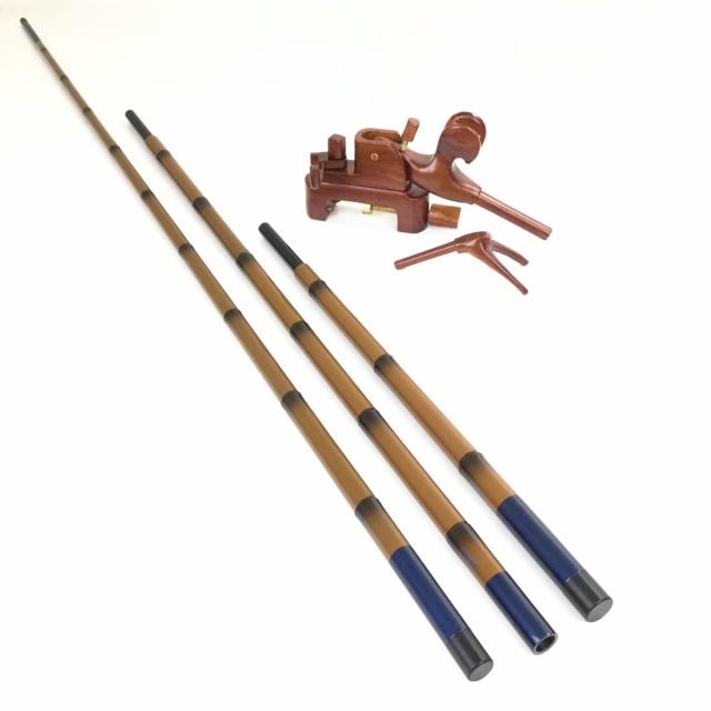 18'芳技(よしわざ) 竿掛け 2本物 口巻+ 大砲万力 カリン(大) (40105-20135set) 140サイズ