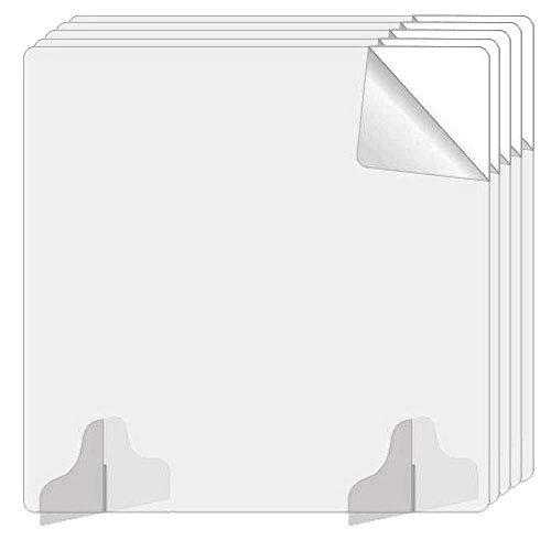 送料無料 5枚セット 飛沫防止 パーティション アクリル板 透明 50cm × 50cm 自立 3mm 角丸加工 仕切り版 アクリル パーテーション 卓上 デスク 仕切り板 (600024-50-5)