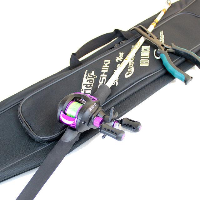 簡単持ち運び ケース付きコンパクト 船釣りセット ロッド & リール & ベントノーズプライヤー (conpact-funeset-01)