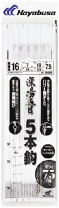【Cpost】ハヤブサ 深場用胴突 深場五目 5本鈎 SD828 鈎17号-ハリス8号-幹糸12号(haya-806233)