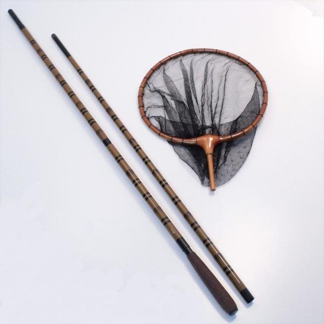 千尋 (せんじん)玉の柄2本物笛巻 + 加工木枠へら玉網 尺/3mm目 (4色) (40018-3030s)