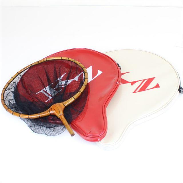 籐巻き加工 木製ヘラ玉網 尺 黒 3mm目 + 風斬 玉網ケース赤/白SET (30050-b-50249)