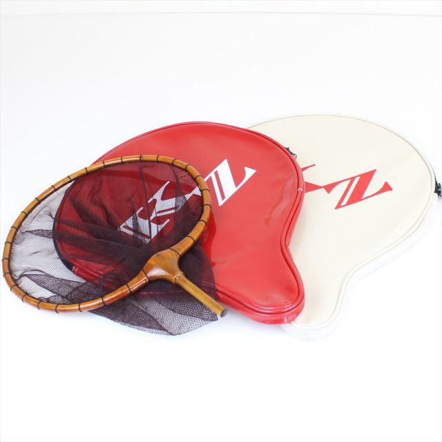籐巻き加工 木製ヘラ玉網 尺 茶 3mm目 + 風斬 玉網ケース赤/白SET (30050-t-50249)