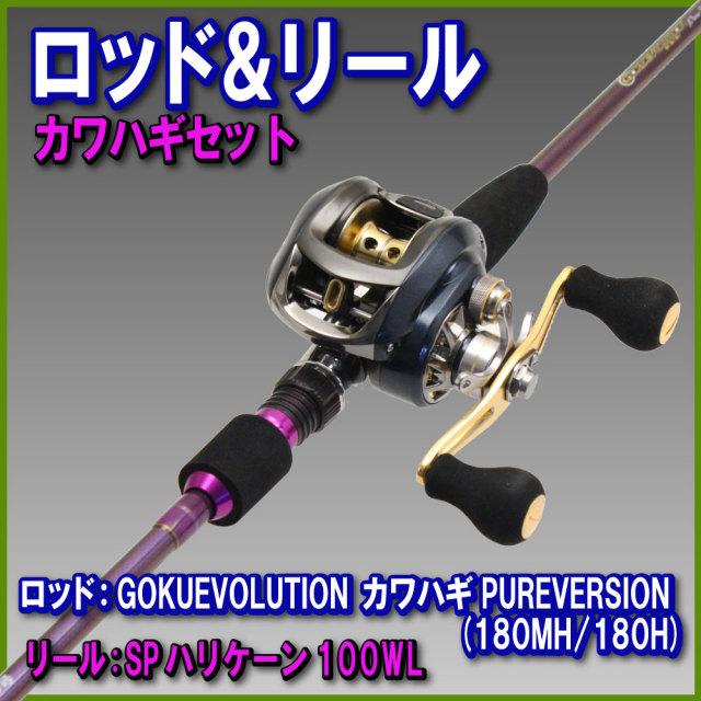 カワハギデビューセット【Gokuevolution カワハギ PURE VERSION 180 & SP ハリケーン 100WL 左】 (rodreel-02)