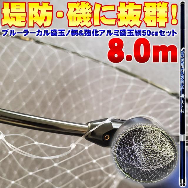 磯玉2点セット BLUELARCAL 磯玉の柄800 & 網付き 50cm強化アルミ四つ折り枠 (sip-netset15-iso)