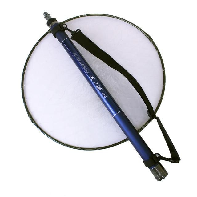 送料無料 玉の柄600 タモジョイント付き 3点セット 強化アルミ 四つ折り玉枠50cm & 小継 玉の柄 BLUE LARCAL600 & タモジョイント ガンメタ (sip-netset39)