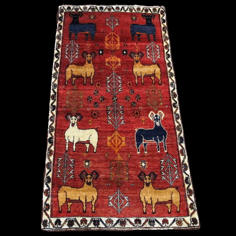 ギャッベ/カシュガイ、絨毯のような細かな織 198×99cm(AL-4144)