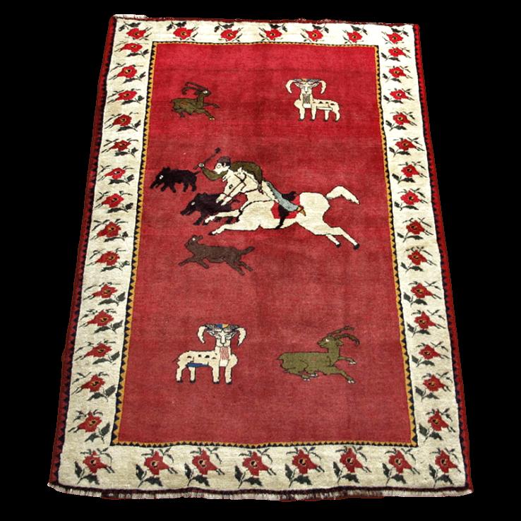 ギャッベ/カシュガイ、絨毯のような細かな織 200×135cm(AL-4175)