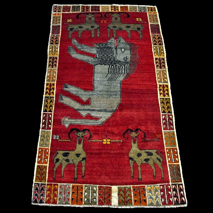 ギャッベ/カシュガイ、絨毯のような細かな織 218×120cm(AL-4221)