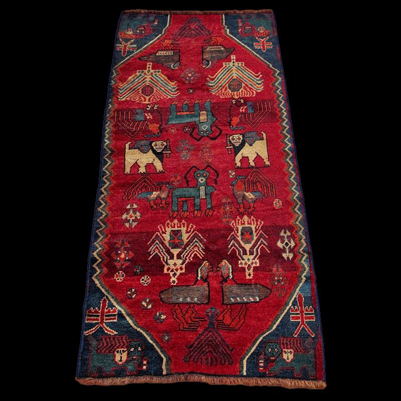 ギャッベ/カシュガイ、絨毯のような細かな織 189×84cm(ALB-4158)