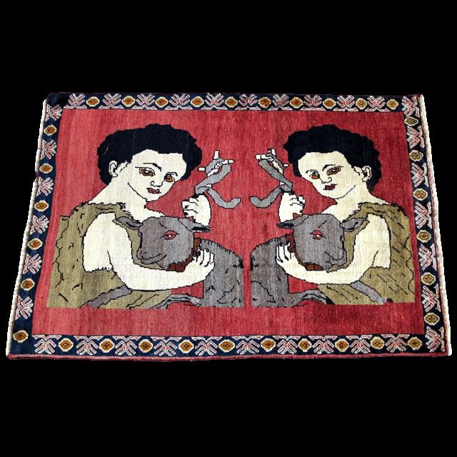 ギャッベ/カシュガイ、絨毯のような細かな織 158×107cm(AM-4147)