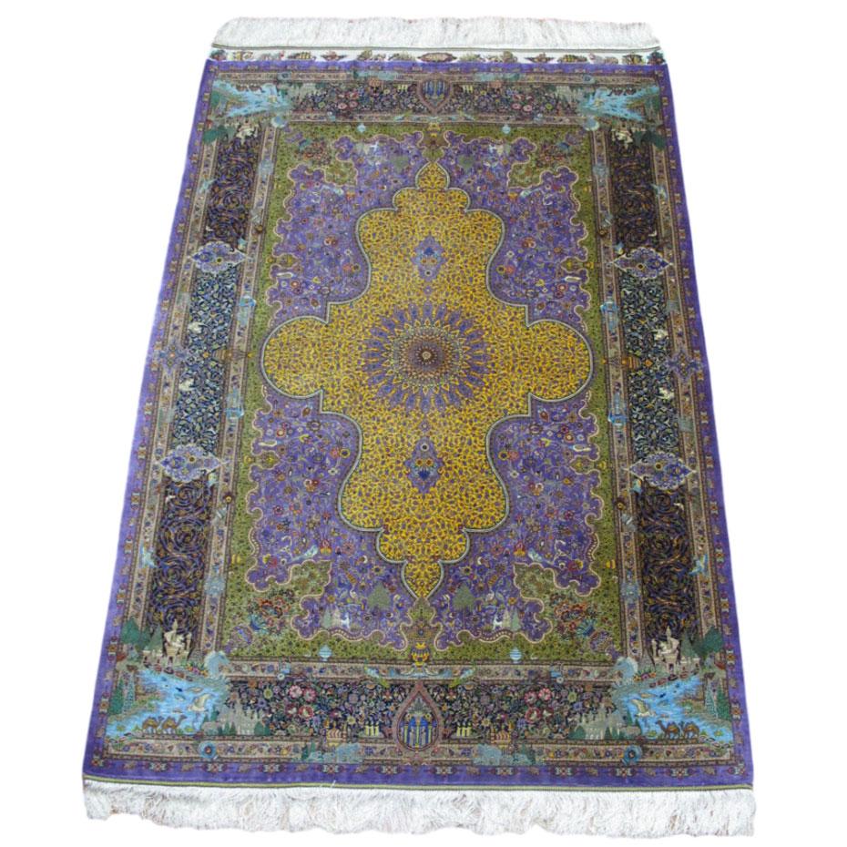 ペルシャ絨毯クム、シルク100% ジャムシーディ 205×133cm(FL-1425)