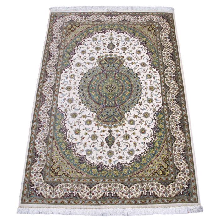 ペルシャ絨毯クム、シルク100% 200×133cm(FL-160905)