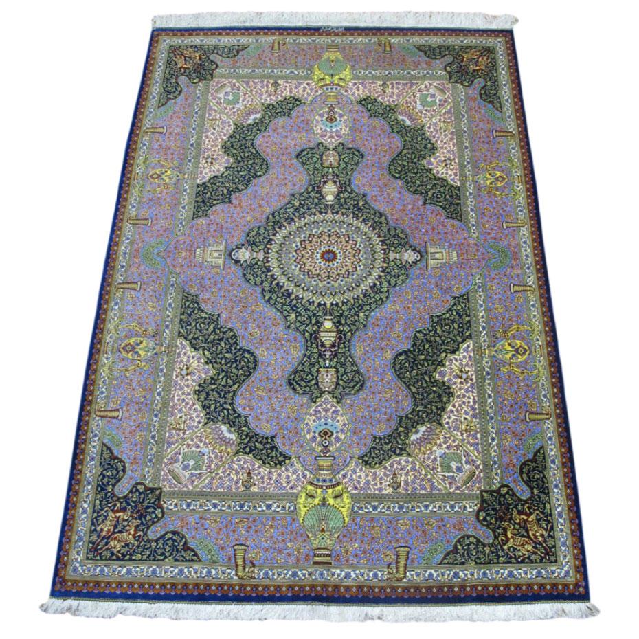 ペルシャ絨毯クム、シルク100% ジャムシーディ 200×131cm(FL-40)