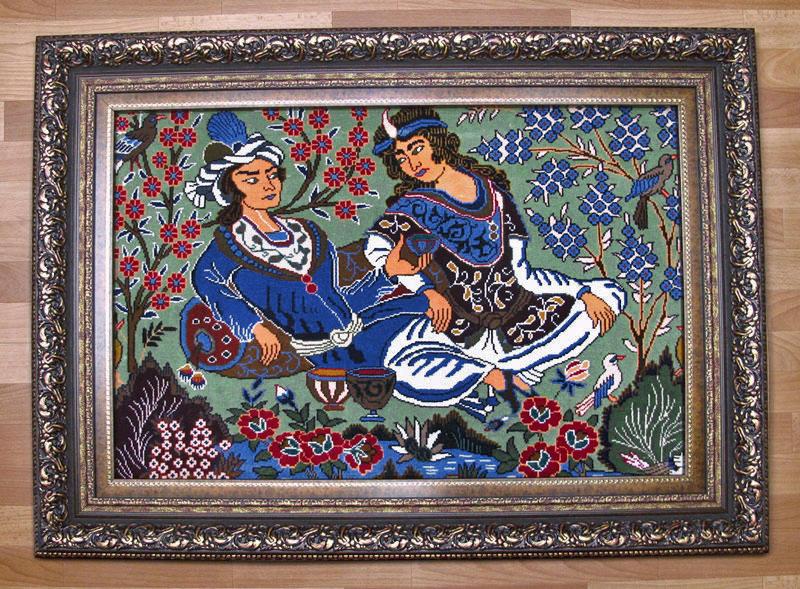 ペルシャ絨毯、カシマール産絵画じゅうたん