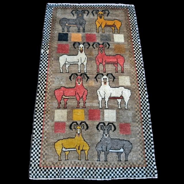ギャッベ/カシュガイ、絨毯のような細かな織 190×103cm(AL-4093)