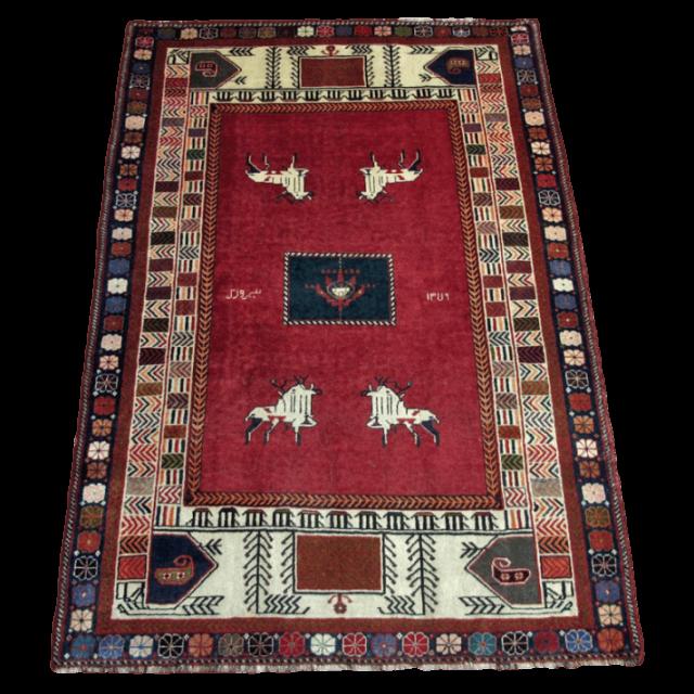 ギャッベ/カシュガイ、絨毯のような細かな織 195×133cm(AL-4118)