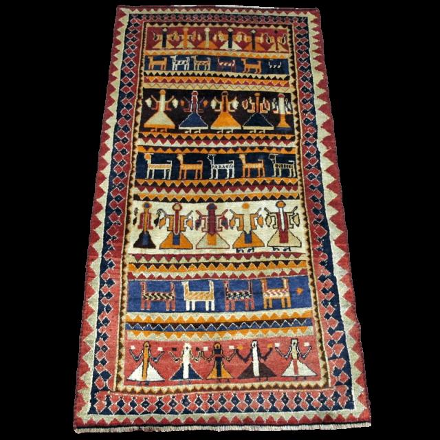 ギャッベ/カシュガイ、絨毯のような細かな織 196×98cm(AL-4146)