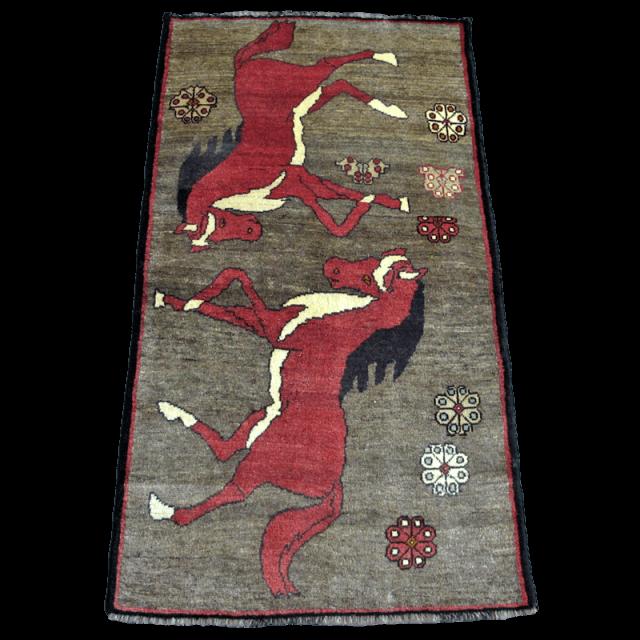 ギャッベ/カシュガイ、絨毯のような細かな織185×101cm(AL-4167)