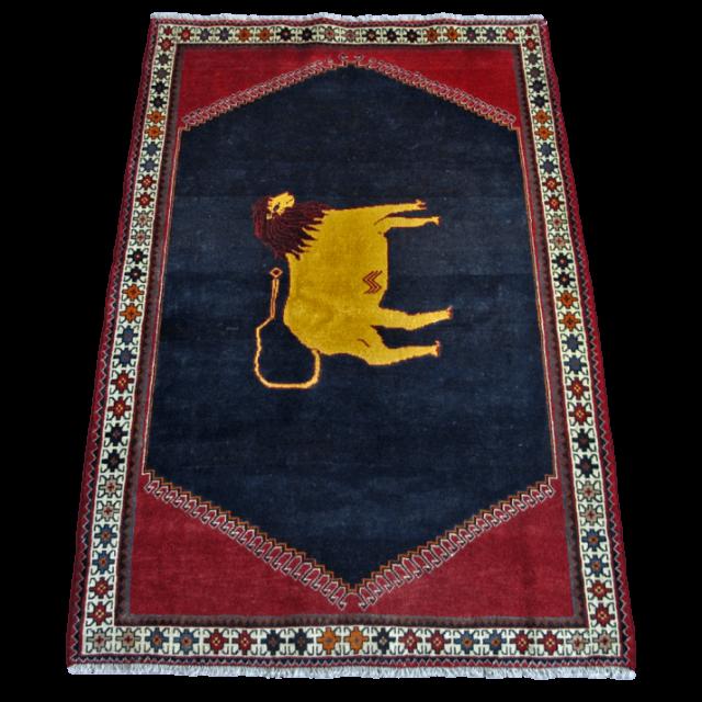 ギャッベ/カシュガイ、絨毯のような細かな織 196×128cm(AL-4169)