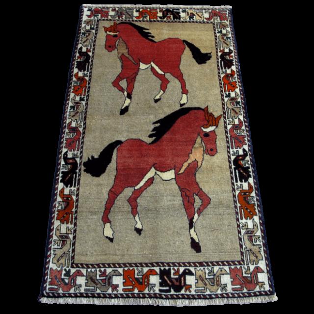 ギャッベ/カシュガイ、絨毯のような細かな織200×111cm(AL-4199)