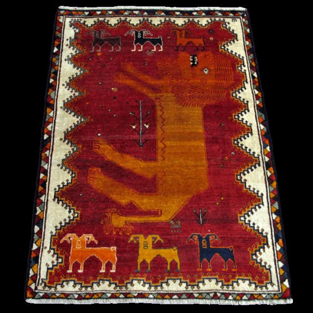 ギャッベ/カシュガイ、絨毯のような細かな織 180×124cm(AL-4218)