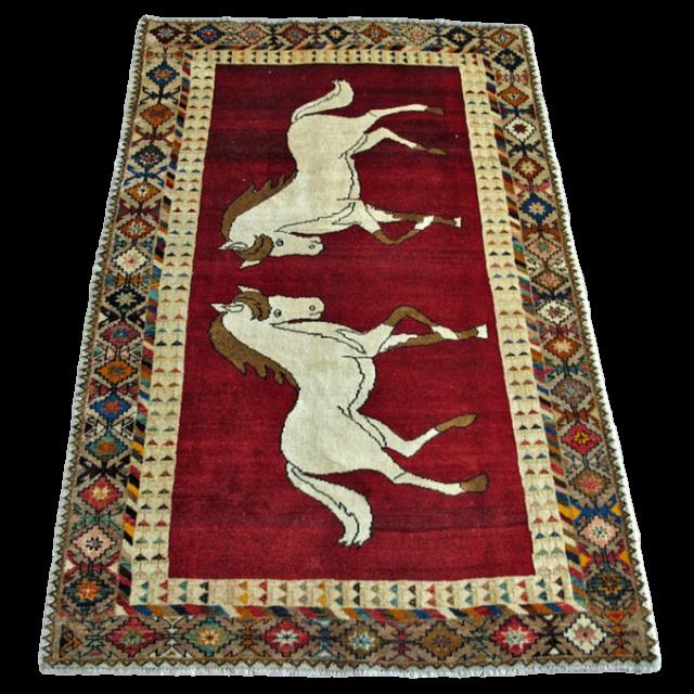 【値下げしました】ギャッベ/カシュガイ、絨毯のような細かな織 240×150cm(AL-4219)