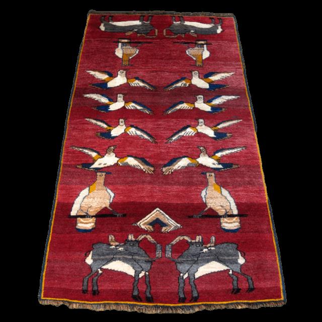 ギャッベ/カシュガイ、絨毯のような細かな織 214×118cm(ALB-4172)
