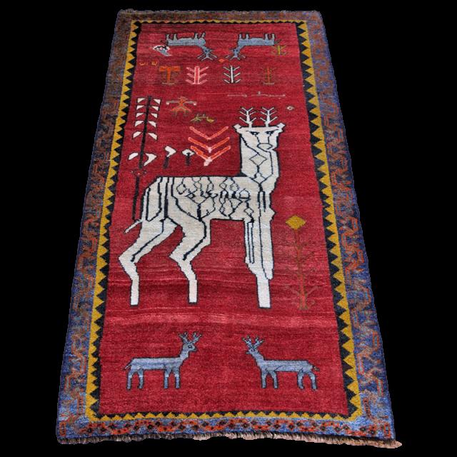 ギャッベ/カシュガイ、絨毯のような細かな織 202×108cm(ALB-4205)