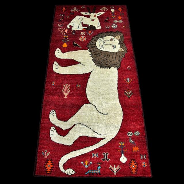 ギャッベ/カシュガイ、絨毯のような細かな織 175×83cm(ALB-4217)