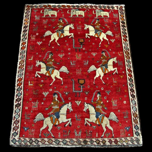 ギャッベ/カシュガイ、絨毯のような細かな織  161×120cm(AM-4105)