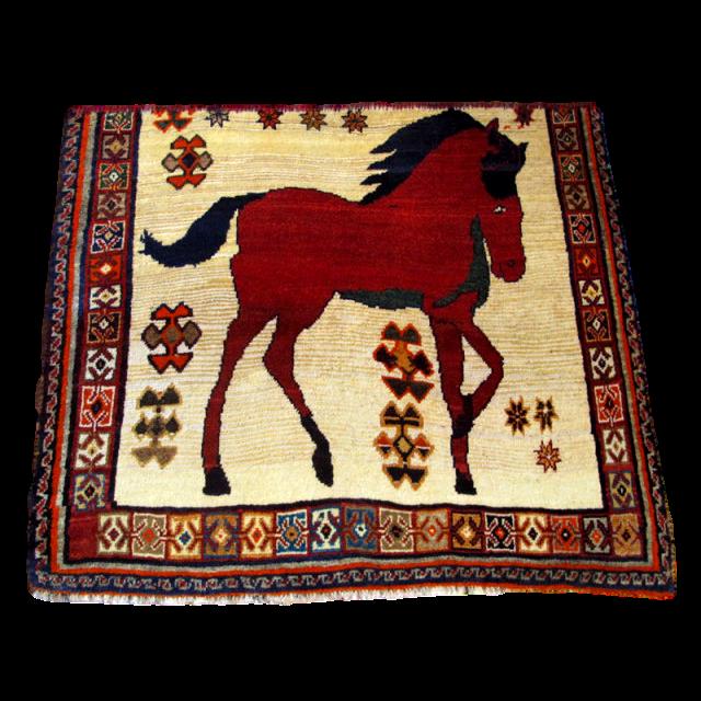 ギャッベ/カシュガイ、絨毯のような細かな織 105×119cm(AS-41812)