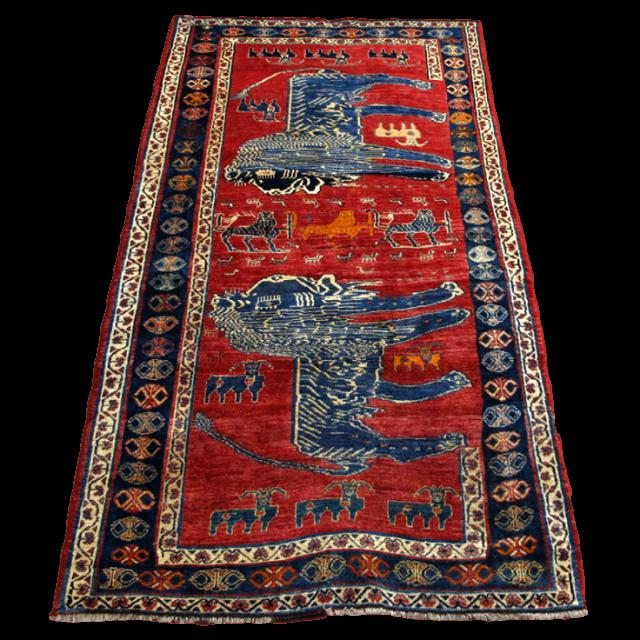 ギャッベ/カシュガイ、絨毯のような細かな織 287×153cm(AX-4156)
