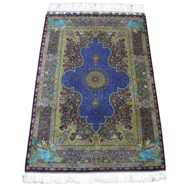 【キャンペーン割】ペルシャ絨毯クム、シルク100% ジャムシーディ 205×133cm(FL-1424)