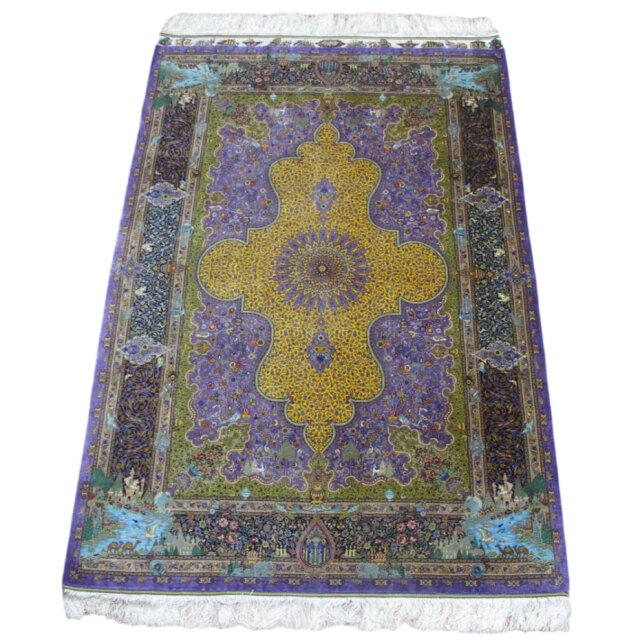 【キャンペーン割】ペルシャ絨毯クム、シルク100% ジャムシーディ 205×133cm(FL-1425)