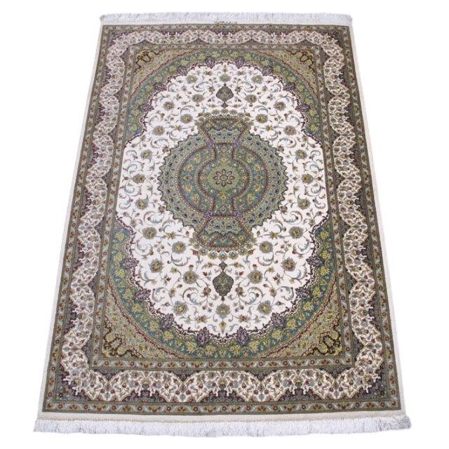 【キャンペーン割】ペルシャ絨毯クム、シルク100% 200×133cm(FL-160905)