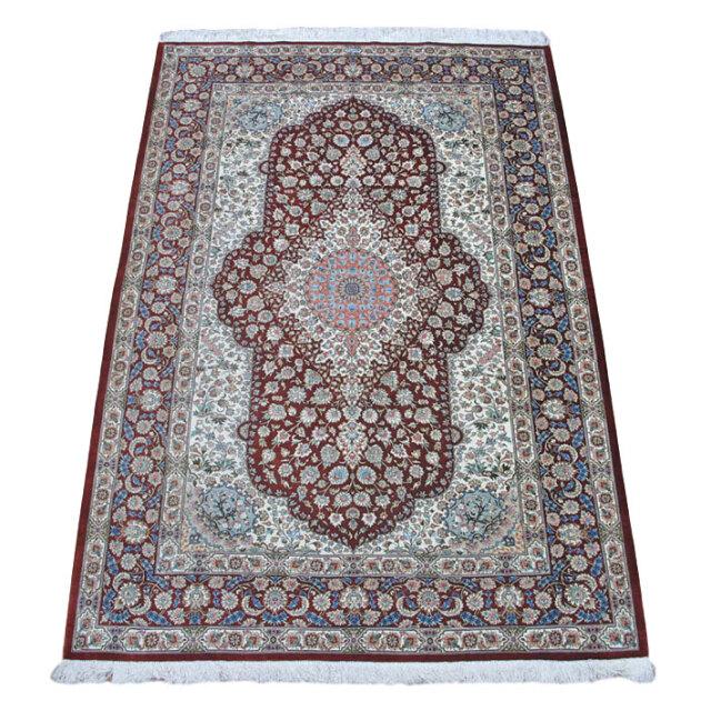 【キャンペーン割】ペルシャ絨毯クム、シルク100% 197×135cm(FL-160906)